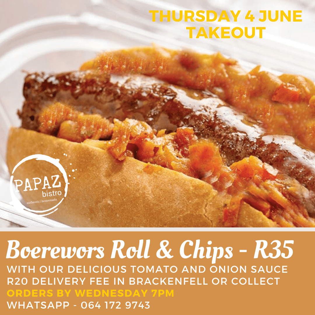 Meal of the day 4 June 2020 - Papaz Bistro - Bunches for Africa Western Cape