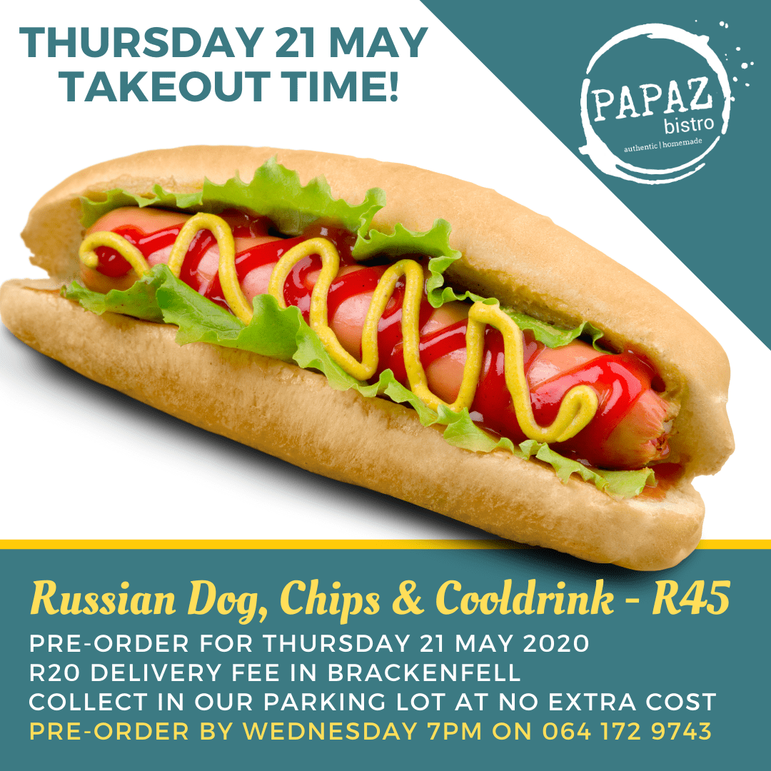 Meal of the day 21 May 2020 - Papaz Bistro - Bunches for Africa Western Cape