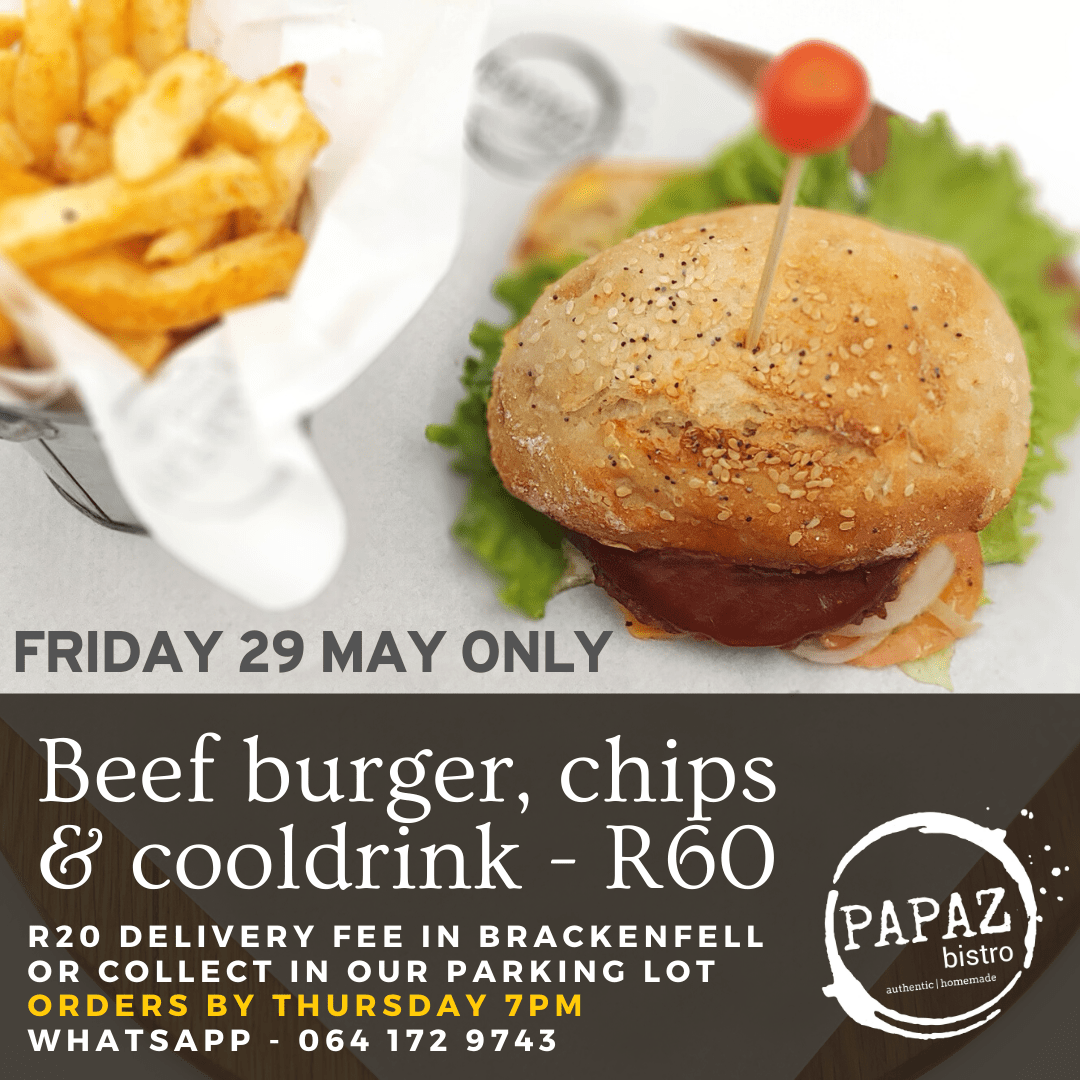 Meal of the day 29 May 2020 - Papaz Bistro - Bunches for Africa Western Cape
