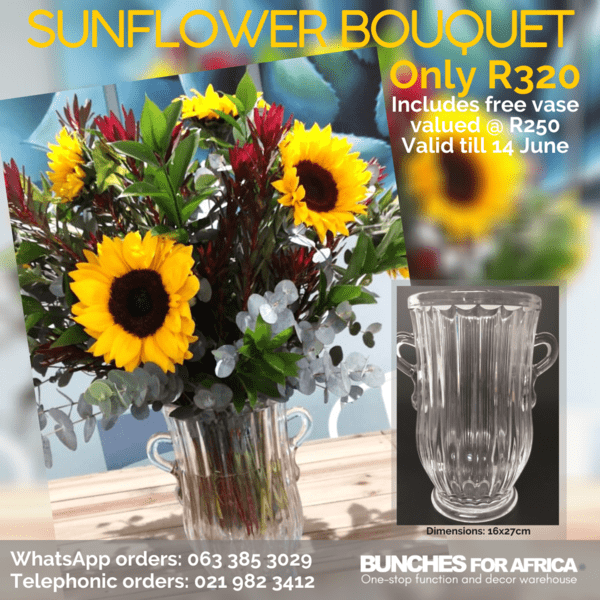 Sunflower bouquet with free vase valid till 14 June 2020