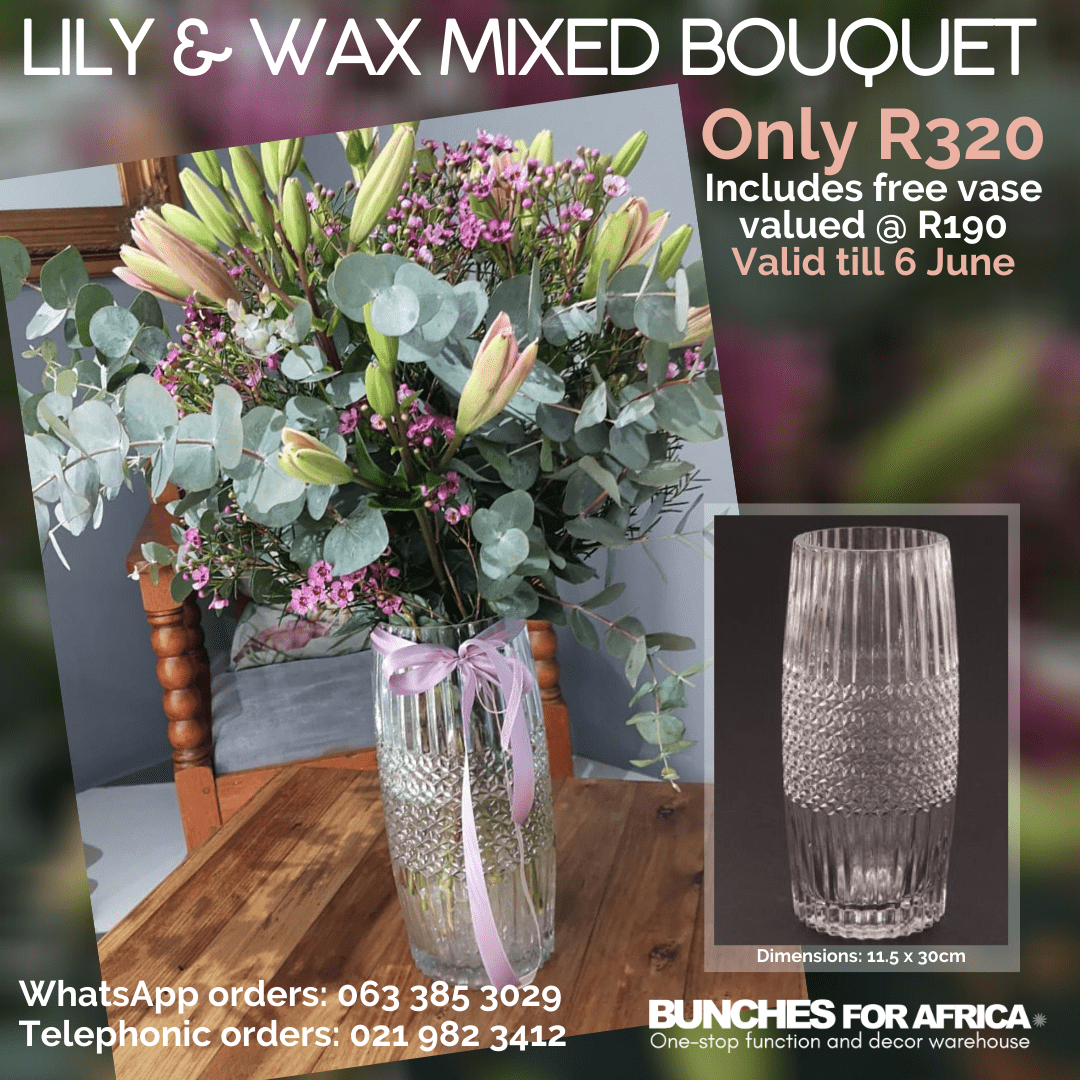 Lily and wax mixed bouquet - Bunches for Africa Western Cape